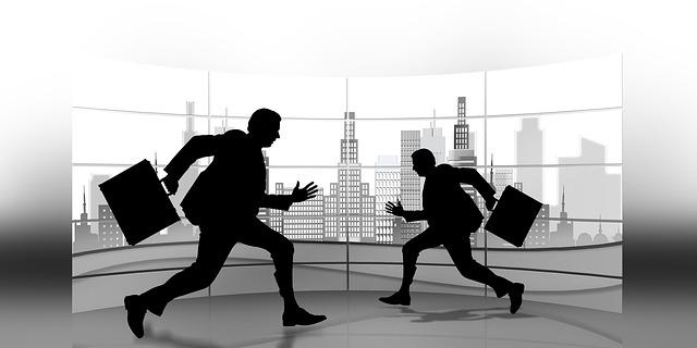 Geschäftsmänner auf der Flucht