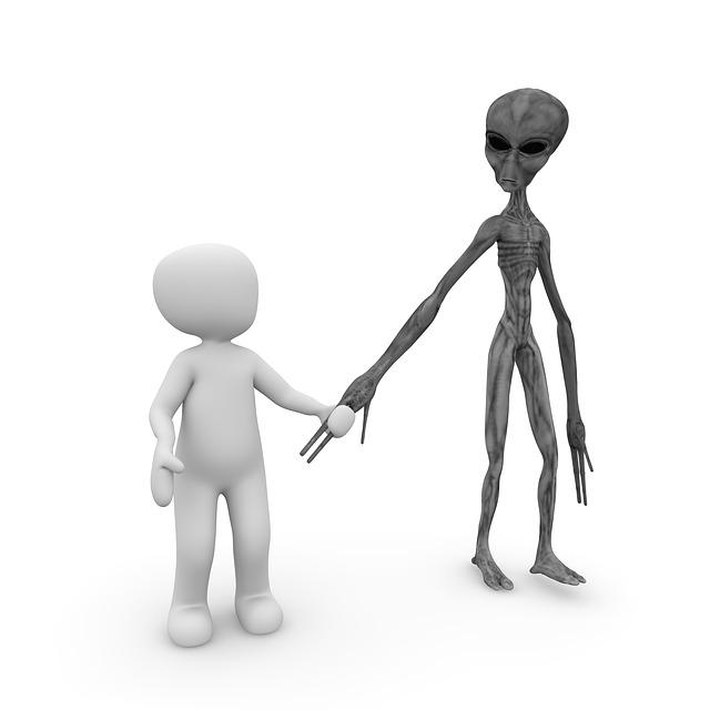 Vielfalt der Universums - Mensch mit Alien